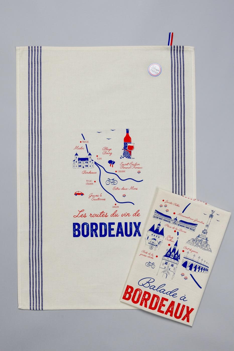 Torchons «Tissages de l'ouest» - Les routes du vin de Bordeaux