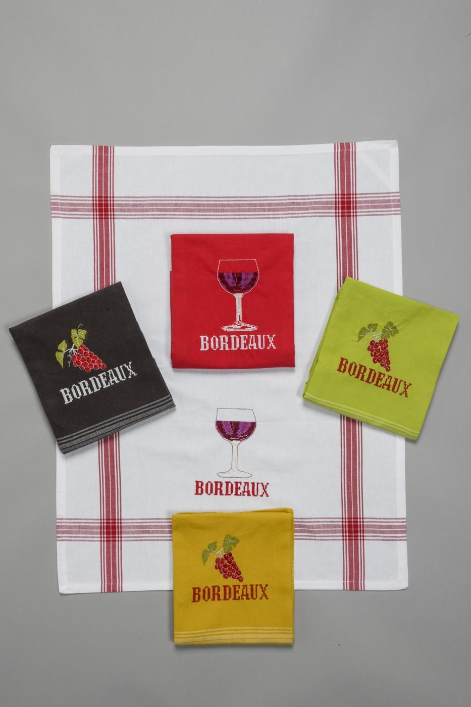 Torchons brodés Bordeaux