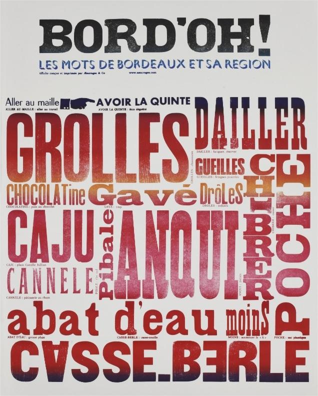 Affiche mots de Bordeaux